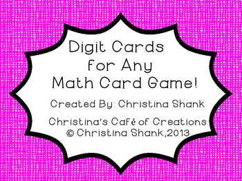 Digit Cards for Any Math Game