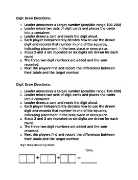 Digit Draw Math Addition Game and recording sheet