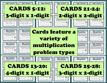 Digit Puzzlers: Multiplication reasoning about multiplication task card set