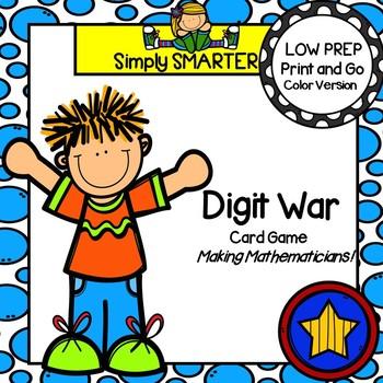 Digit War:  LOW PREP Value of a Digit Card Game
