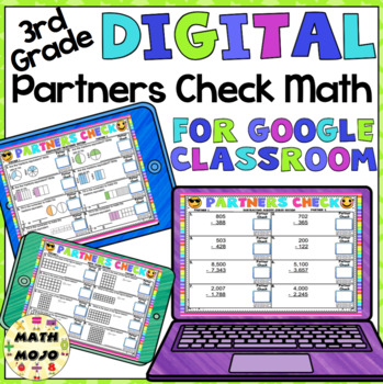 Digital 3rd Grade Math: Emoji Theme Partners Check