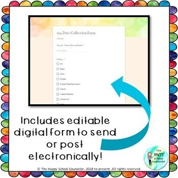 Digital 504 Plan Data Collection Form and Tracker Spreadsheet {use with Google}