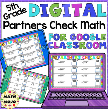 Digital 5th Grade Math: Emoji Theme Partners Check