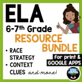 ELA Reading Comprehension & RACE Strategy Writing Bundle for Google, Grades 6-7