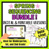 Digital AND Print Spring Sequencing Activity for 1st Grade