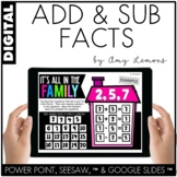 Digital Activities: Addition and Subtraction Facts (SEESAW, GOOGLE SLIDES,PP)