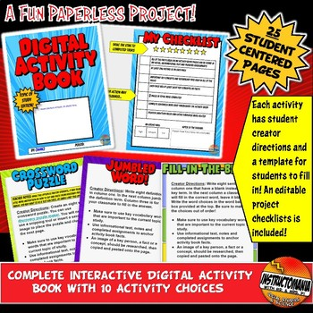 Digital Activity Book Project or Review Activity: Google Classroom Activities