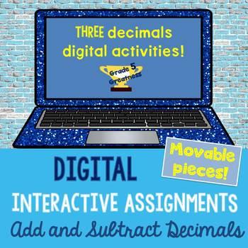 Digital Add and Subtract Decimals Math Activities