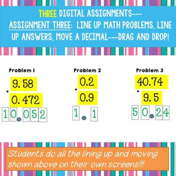 Digital Add and Subtract Decimals Math Activities