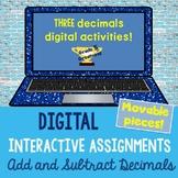 Digital Add and Subtract Decimals Math Activities Distance