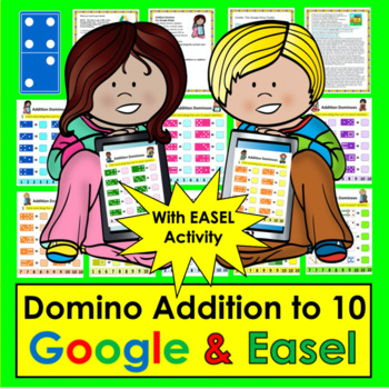 Digital Addition Dominoes to 10 - For Google Slides: Kindergarten & First Grade