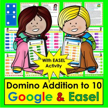 Digital Addition Dominoes to 10 - For Google Slides: Kindergarten & First Grade