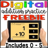 Digital Addition Fact Practice 0 - 5 FREEBIE