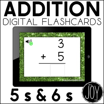 Digital Addition Flashcards for 5s and 6s