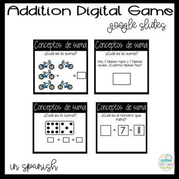 Digital Addition Game on Google Slides in *Spanish*