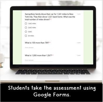 Digital Addition SELF-GRADING Assessments for Google Classroom