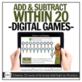 Digital Addition & Subtraction within 20 Games (1st Grade)