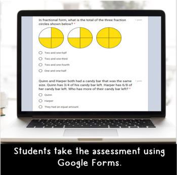 Digital Advanced Fractions SELF-GRADING Assessments for Google Classroom