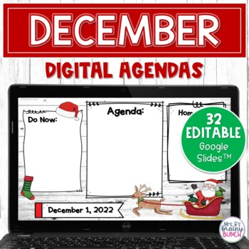 Digital Agenda Templates - December | Editable Google Slides