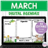 Digital Agenda Templates - March | Editable Google Slides