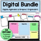 Digital Agenda and Graphic Organizers Bundle | Distance Learning