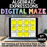 Digital Maze Algebraic Expressions for Google Slides 6th G