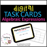 Digital Algebraic Expressions Task Cards for use w Google Slides or PowerPoint