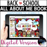 All About Me Digital Book, Back to School Distance Learning