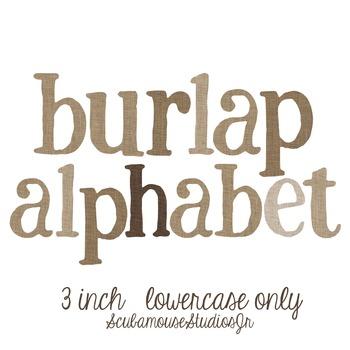 Digital Alphabet, Burlap lowercase letters, individual PNG files