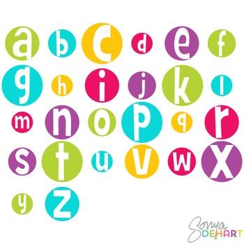 Alphabet - Crazy Bright Circles Clip Art
