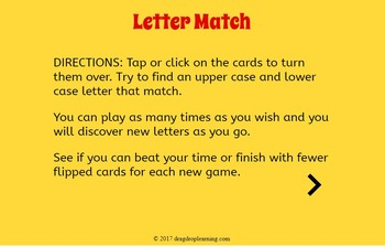 Digital Alphabet Memory Game - Upper and Lower Case Matching