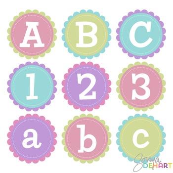 Alphabet - Scalloped Stitched Circles Clip Art