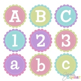 Alphabet - Scalloped Stitched Circles Clip Art