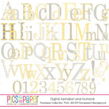 Digital Alphabet and Numerals in Yellow and Gray