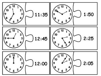 Digital & Analog Clock Matching Puzzle - Telling Time to the Nearest 5 Minutes