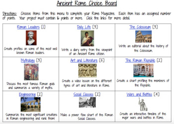 Digital Ancient Greece and Ancient Rome Extension Menu Assessment Two Pack
