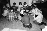 Digital Antique Image Children learning to stitch and sew