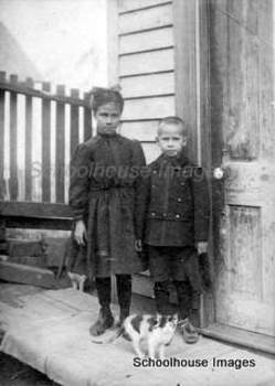 Digital Antique Image Young children girl and boy