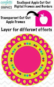 Digital Apple Cut Out Scallop Frames 40 Piece Bright Color Clip Art