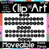 Digital Apps Game Pieces Circle Letters Black and White Clipart