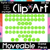 Digital Apps Game Pieces Circle Letters Bright Green Clipart