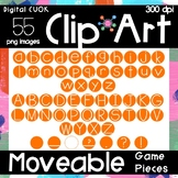 50% OFF 48 HRS Digital Apps Game Pieces Circle Letters Orange Clipart