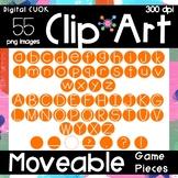Digital Apps Game Pieces Circle Letters Orange Clipart