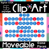 Digital Apps Game Pieces Circle Letters Red and Blue Clipart