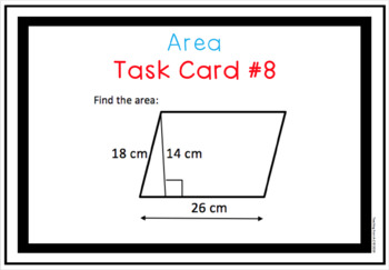 Digital Area Task Cards for use w Google Slides or PowerPoint