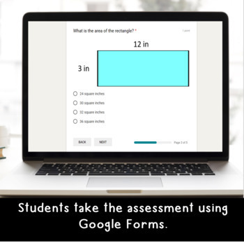 Digital Area and Perimeter SELF-GRADING Assessments for Google Classroom