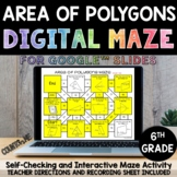 Digital Maze Area of Polygons for Google Slides 6th Grade