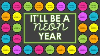 Digital Attendance - Neon Buttons (Interactive Whiteboard)