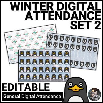 Digital Attendance - Winter - Set 2 (Interactive Whiteboard)