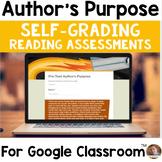 Digital Author's Purpose SELF-GRADING Assessments for Google Classroom